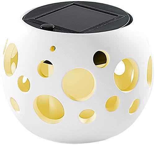 Lunartec Solar-LED-Windlicht: Solar-LED-Leuchte Kugel aus edlem Ton, weiß (Solar Tischleuchten)