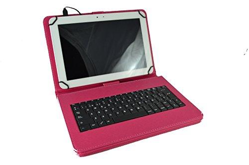 Theoutlettablet Funda con Teclado extraíble en español (Incluye Letra Ñ) para Tablet Bq Aquaris M10 / Bq Edison 3 / Woxter QX105-103 / Samsung Galaxy Tab A 10.1' Color Rosa Fucsia