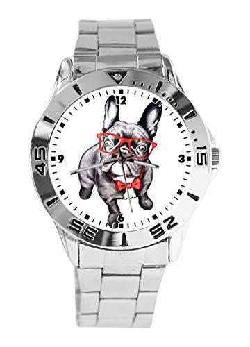 Rote Brille Fashion Dog Custom Design Analog Armbanduhr Quarz Silber Zifferblatt Klassisch Edelstahl Band Damen Herren Armbanduhr