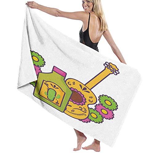 Grande Suave Toalla de Baño Manta,Botella de Bebida de Tema de Damasco folclórico con diseño de Dibujos Animados de Guitarra Mexicana,Hoja de Baño Toalla de Playa Viaje Nadando,52' x 32'