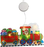 DINNIWIKL Christmas Window Lights Sticker - Christmas LED Suction Cup Light,Santa LED Light Christmas Lighted Window Decoration Silhouette with Suction Cup and Hook Up (Train Christmas)