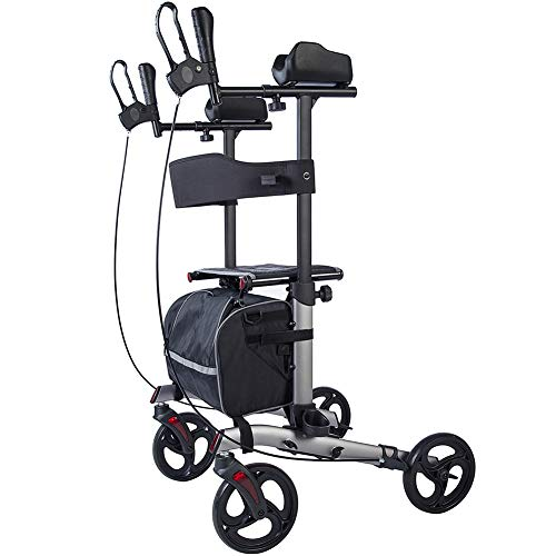 ELENKER Upright Walker, Stand Up Folding Rollator Walker Back Erect Rolling Mobility Walking Aid with Backrest Seat and Padded Armrests for Seniors and Adults, Silver