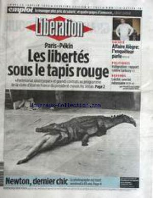 LIBERATION [No 7062] du 26/01/2004 - PARIS- PEKKIN - LES LIBERTES SOUS LE TAPIS ROUGE - AFFAIRE ALEGRE - L