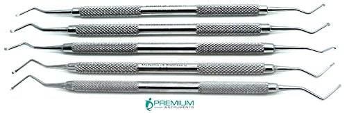 5 Pcs Superior Dental Excavator Spoons 1.2mm, 1.4mm, 1.8mm, 2mm, 2.5mm Instrument