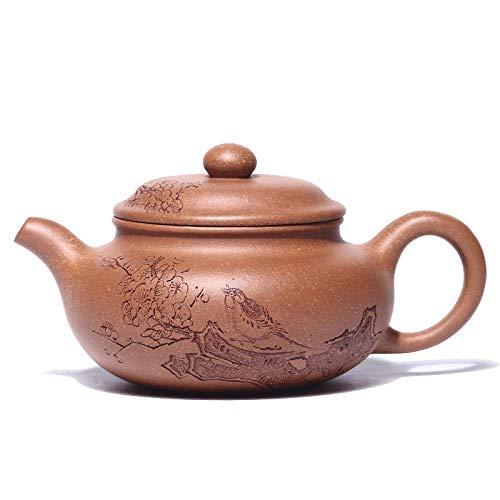 WMYATING - Set da tè con combinazione di teiera in argilla, set da tè, tè kung fu, Yixing fatto a mano viola sabbia, set regalo portatile orientale, marrone (colore: marrone)