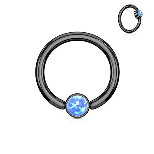 Amelia Fashion 16 Gauge Black Flat Cylinder Captive Bead Ring Round Synthetic Opal 316L Surgical Steel (Choose Color) (Opal Blue)