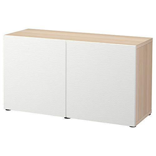 BESTÅ förvaringskombination med dörrar 120 x 42 x 65 cm vitfärgad ekeffekt/Laxviken vit