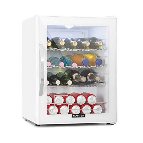 Klarstein Beersafe XL - Getränkekühlschrank, 60 Liter, C, 5 Kühlstufen: 3-10 °C, 42 dB, 2 flexible Metallböden, LED-Licht, Kühlschrank für Flaschen, Mini Bar, weiß