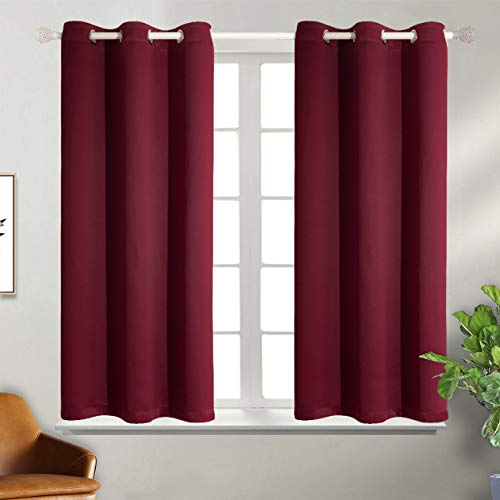 BGment Blackout Curtains for Bedroom - Grommet Thermal Insulated Room Darkening Curtains for Living Room, Set of 2 Panels (38 x 54 Inch, Burgundy)