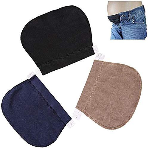 Extensores de Cintura Elástica,3 PCS Extensor de Pantalones Cintura Ajustable Extensores de Botones Amplificador de Pantalones para Vaqueros Pantalones para Embarazadas Negro Gris y Caqui