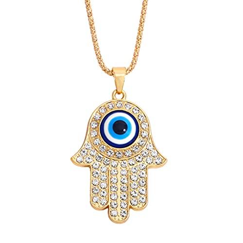 S-TROUBLE Collar de Mano de Fátima de aleación Europea y Americana, Cadena de suéter de joyería de Diamantes de Ojo Azul de Pavo para Mujeres y Hombres