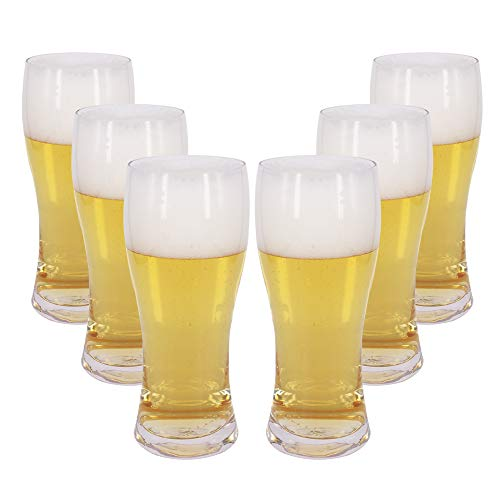 BPFY 6 Pack 16oz Pilsner Beer Glasses, Bar Glassware, Drinking Glasses for Home Kitchen Entertainment (Pilsner Glasses)