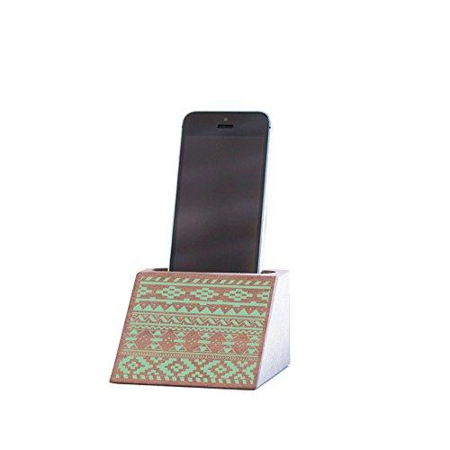 Miss Wood Telefoonstandaard van hout, mahonie, groen