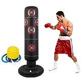 xingletu Saco de boxeo inflable de pie, saco de boxeo de pie libre, bolsa de boxeo para fitness, soporte de torre de 160 cm, bolsa de arena de fitness con bomba de aire para adultos y niños