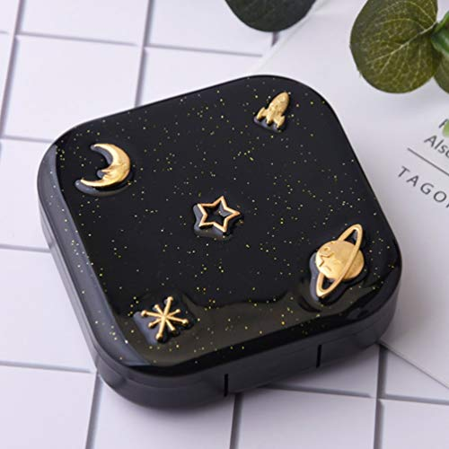 TAOHOU Caja de Lentes de Contacto Alice Starry Caja de Lentes de Contacto portátil Caja Contenedor Negro