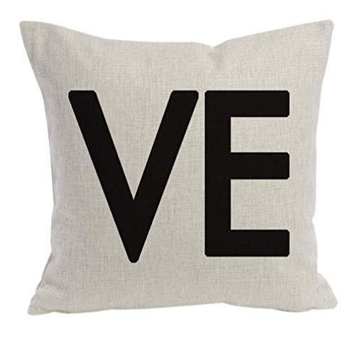 greenwoodhomer - Funda de cojín con letras negras y letras de estilo Scrabble, funda de almohada de lino y algodón duradero, para regalo de San Valentín, 45,7 x 45,7 cm