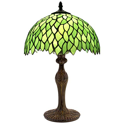 """Table Lamp Tiffany Style Bedside Lamp Green Wisteria Stained Glass Luxurious Reading Desk Light 18""""Tall Living Room Bedroom Library Banker Hotel Victorian Memory Sympathy WERFACTORY LED Bulb Better"""