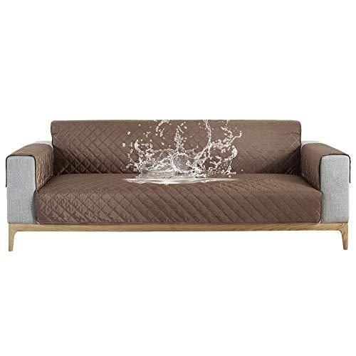 Carvapet Sofabezug wasserdichte Sofaüberwurf Antirutsch Sofahusse Schutz vor Haustier Katze Hunde Sofa überwurf Couch überzug für Sofa (Kaffee, 3 Sitzer)