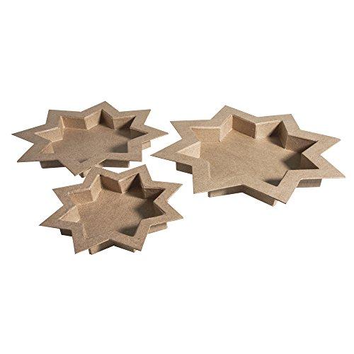 RAYHER Schalen Stern, FSC Recycled 100 Prozent, Pappmaché, Natur, 32.5 x 32.5 x 3 cm, 4 Einheiten