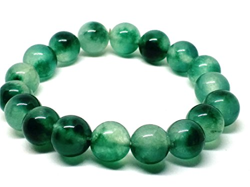 Yigedan Perlenarmband, 10 mm, natürliche Eisblaue Blume, Jade