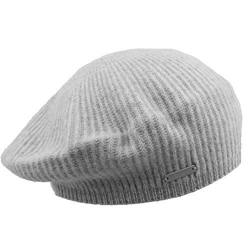 Seeberger - Gorro de lana de merino suave para mujer, para otoño e invierno gris luminoso (ral 7035) Talla única