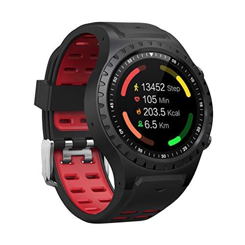 M1 Smart Watch Telefon WiFi BT GPS Schrittzähler Herzfrequenz Smartwatch für Sport (Schwarz + Rot)