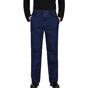 Men's Full Elastic Waist Denim Pull-On Jeans Straight Trousers Pants