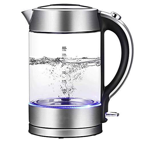 Hervidor eléctrico de vidrio iluminado 1.7L Hervidor de agua con cierre automático...