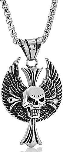 LBBYLFFF Collar Retro Gótico Masculino Acero Cráneo Cruz Colgante Acero Inoxidable Fundición Collar de Cabeza de Fantasma