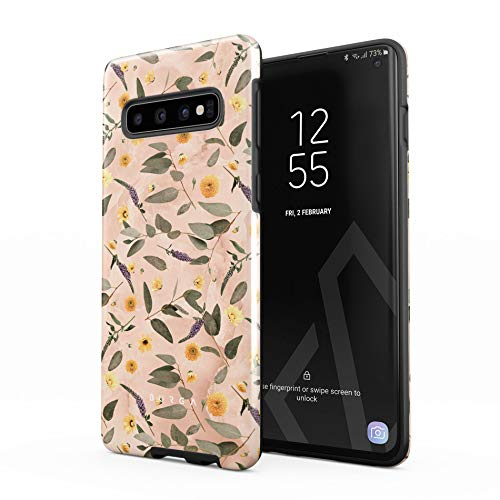 BURGA Phone Case Compatible with Samsung Galaxy S10 Plus - Peach Marble Flowers Blossoms Eucalyptus Leaves Floral Vintage Cute Heavy Duty Shockproof Dual Layer Hard Shell + Silicone Protective Cover