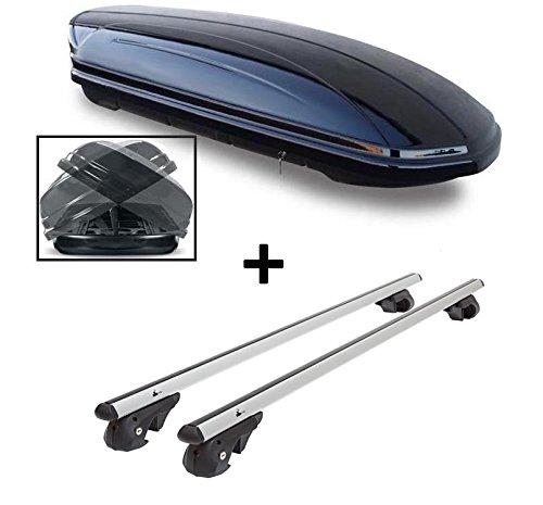 Skibox VDPMAA460 460Ltr Duo Boîte de Ski Rabattable des Deux côtés + Porte-Barres en Aluminium VDP004XL pour Ssang Yong Rexton à partir de 13