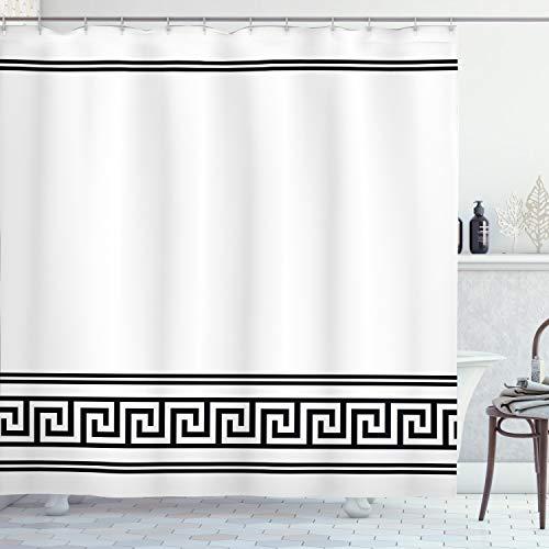 ABAKUHAUS Duschvorhang, Simpler Minimalistischer Römisches Muster Schwarz und Weiß Gestreift Symmetrisches Design Druck, Blickdicht aus Stoff mit 12 Ringen Waschbar Langhaltig Hochwertig, 175 X 200 cm