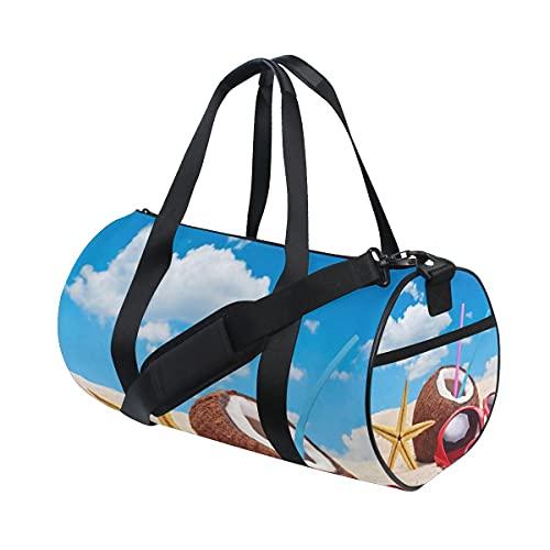 Beach Starfish Blue Sky Coconut Sport Gym Bag per donne e uomini Viaggio Duffel Bag Regalo di Natale