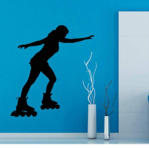 Rollschuh Sport Wandtattoo Mädchen Schlafzimmer Vinyl Skating Gym Frau Interieur Abnehmbare Wohnkultur DIY Wandbild 42X46cm