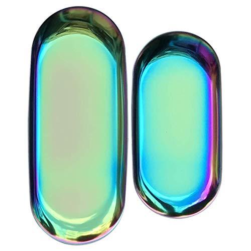 FREELOVE Stainless Steel Serving Tray, Bathroom Sink Vanity Trays Cosmetics Jewelry Organizer Towel Tray Tea Tray Decorative Tray(Rainbow 1, Oval 7 inch / 9 inch)