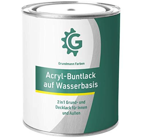 GRUNDMANN Acryllack - 3 kg Buntlack Weiß - Halb Matt - Acrylfarbe, Holzfarbe, Holzanstrich, Metallfarbe - 2in1 Lackfarbe für Holz, Metall, Plastik, Kunststoff & Beton - RAL 9016 Verkehrsweiß