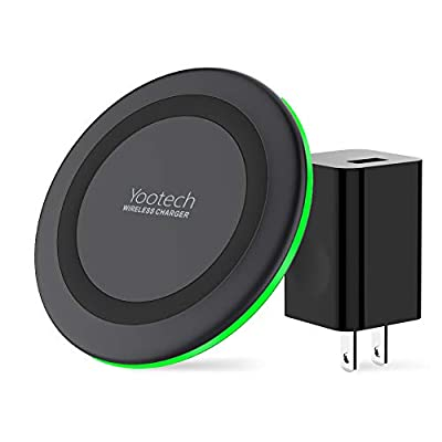 Yootech Wireless Charger, Qi-Certified 10W Max Wireless Charging Pad with QC3.0 AC Adapter, Compatible with iPhone 11/11 Pro/11 Pro Max/XS MAX/XR/XS/X/8,Samsung Galaxy Note 10/S10/S9,AirPods Pro