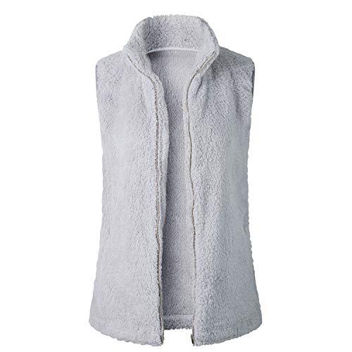 SKEPO Damen Weste Steppweste Sherpa Fleece Ärmellos Winter Warm Hoodie Outwear Mantel Zip Jacke Mit Stehkragen (Grau)