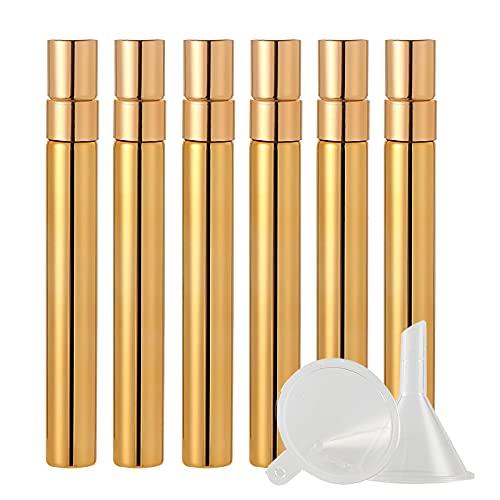 BasicPacking 6 Pieza 10ml Perfume Frasco de Cristal Oro Brillante con Pulverizador para Perfume, Mini Botella de Vidrio con Bomba en Spray Atomizador, Recargable + 2 x Embudo