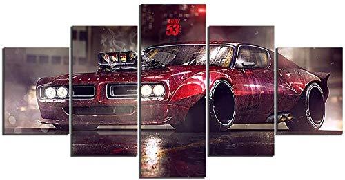 5 Piezas Lienzos Cuadros Pinturas Vehículo Coche Retro Sport Car Cuadros Modernos Impresión Imagen Artística El Arte De La Pared del Hogar Salón Oficina Mordern Decoración Sin Marco
