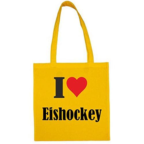 Tasche I Love Eishockey Größe 38x42 Farbe Gelb Druck Schwarz