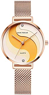 MF0291L Woman Quartz Wristwatch Creative Design Waterproof Alloy Case Noctilucent Function Stainless Steel Strap Female Watch