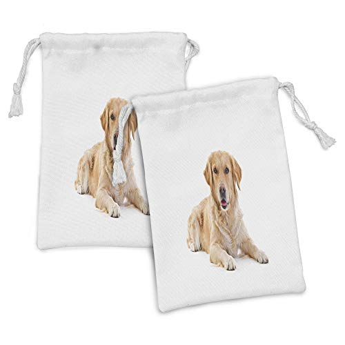 "Ambesonne Golden Retriever Fabric Pouch Set of 2, Young Pedigree Puppy Laying over White Background Baby Dog, Small Drawstring Bag for Toiletries Masks and Favors, 9"" x 6"", Sand Brown White"