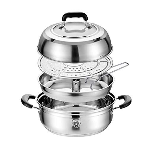 304 Olla De Acero Stock, Olla De Acero/Vapor Comercial/Doméstico Sopa, (28/30/32 Cm), For La Estufa De Gas/Cocina De Inducción Ollas (Size : 28cm)