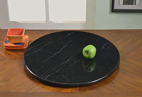 "Chintaly Imports Round Marble Rotating Tray, 24"", Black -  FBA_LAZY-SUSAN-24MBL-BLK"