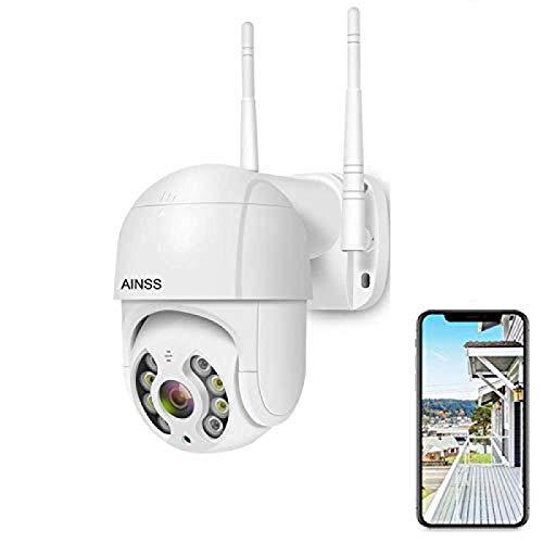 AINSS Cámara de vigilancia WiFi para Exteriores con función de visión Nocturna en Color, cámara PTZ IP 1080P, Audio de 2 Canales, IP66 a Prueba de Agua, Seguimiento Inteligente [Cámara1080P:Blanco]