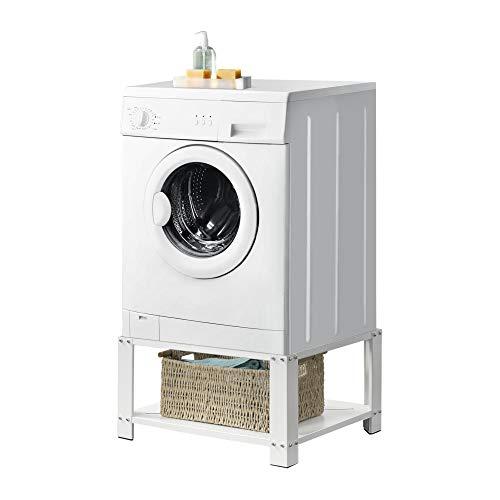 [en.casa] Waschmaschinen-Sockel mit Ablage Waschmaschinen-Untergestell Trockner Sockel Podest + Ablage Stahl Weiß