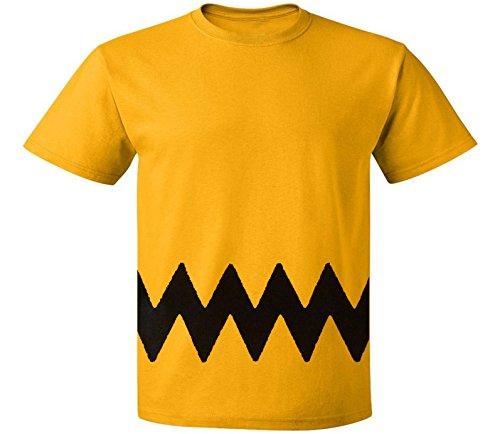 Custom Kingdom Mens Peanuts Charlie Brown T-Shirt (XL), Yellow