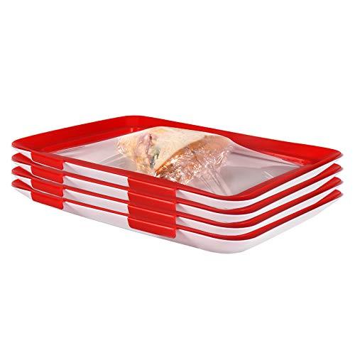 Bandejas de almacenamiento de alimentos (4 unidades), bandejas creativas de alimentos con tapas elásticas
