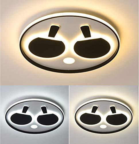 JiesenAN 36W LED 3-Ton Deckenleuchte Kreativer Tischtennisschläger Kinderzimmerbeleuchtung Augenpflege Kindergartenlampe Aluminium Acryl Runde Deckenleuchte,Black,D45*H5.5CM